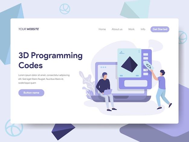 Ilustração de códigos de programação 3d