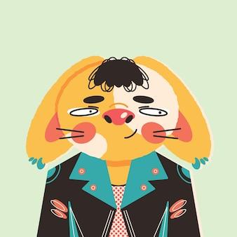 Ilustração de coelhinha estrela do rock