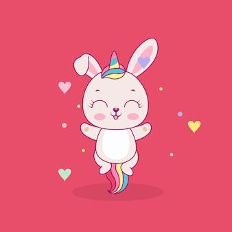 Ilustração de coelhinha fofa e feliz