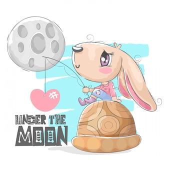 Ilustração de coelhinha fofa sob a lua