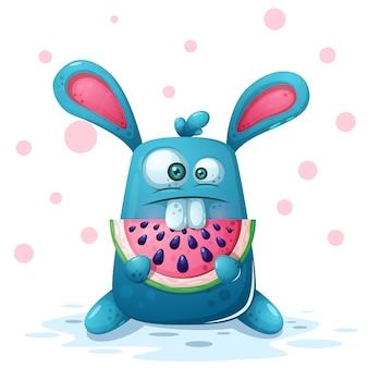Ilustração de coelho bonito com melancia.