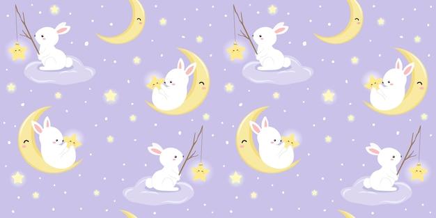 Ilustração de coelho e lua no padrão sem emenda