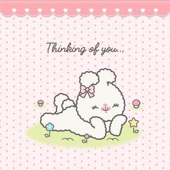 Ilustração de coelho e pontos kawaii bonito
