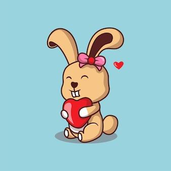 Ilustração de coelho fofo com coração vermelho