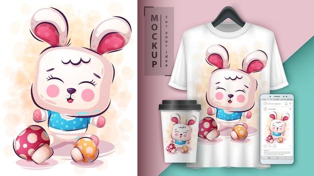 Ilustração de coelho fofo e merchandising