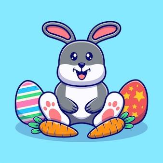 Ilustração de coelho fofo e ovos de páscoa. estilo de desenho animado animal flat