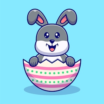 Ilustração de coelho fofo e ovos de páscoa.