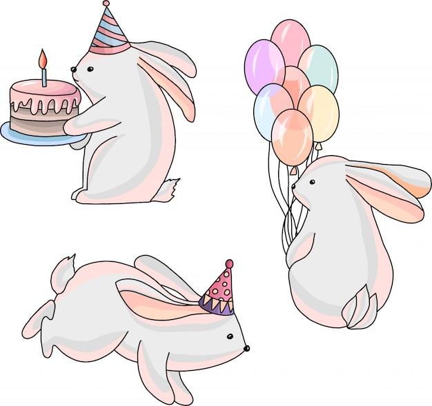 Ilustração de coelhos festivos