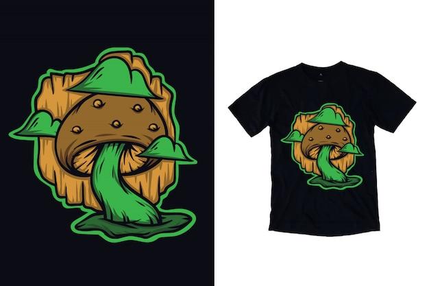 Ilustração de cogumelo para design de camiseta