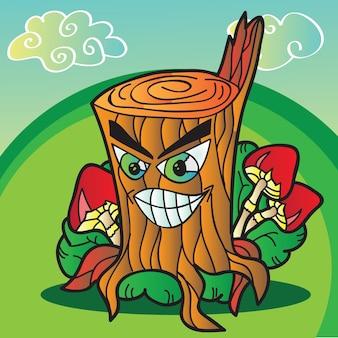 Ilustração de cogumelos com toco de árvore engraçado - vetor