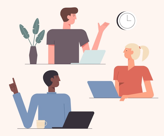 Ilustração de colaboração de trabalho em equipe amigável. tempo de cooperação. equipe de colegas de trabalho criativo novo projeto juntos design de estilo simples. conceito teambuilding