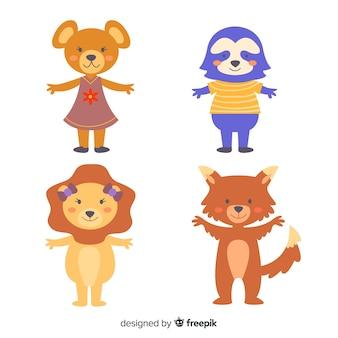 Ilustração de coleção animal dos desenhos animados
