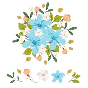 Ilustração de coleção de buquê de flores 2d