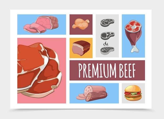 Ilustração de coleção de comida de carne de desenho animado