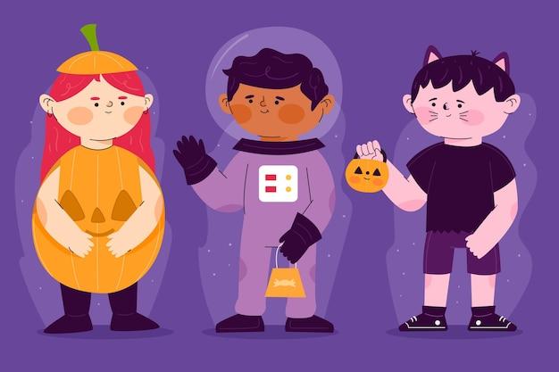 Ilustração de coleção de criança de halloween em design plano