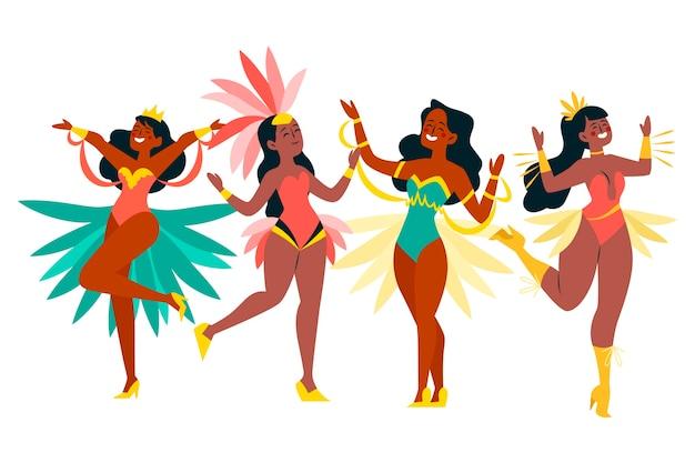 Ilustração de coleção de dançarina de carnaval brasileiro