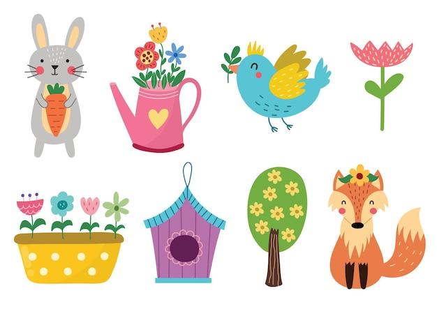 Ilustração de coleção de elementos de primavera fofa