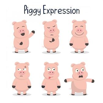Ilustração de coleção de expressão porquinho
