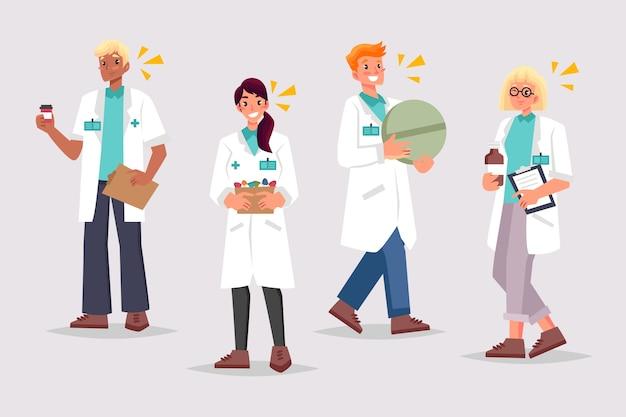 Ilustração de coleção de farmacêutico