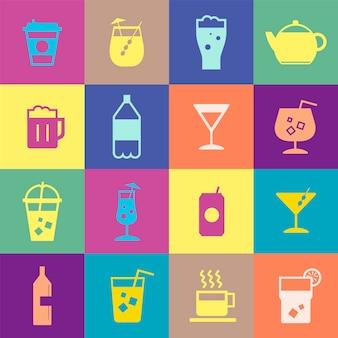 Ilustração de coleção de ícones de bebidas refrescantes