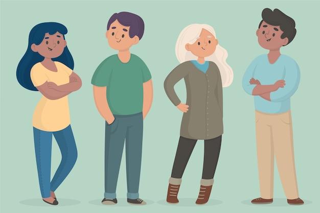 Ilustração de coleção de pessoas confiantes