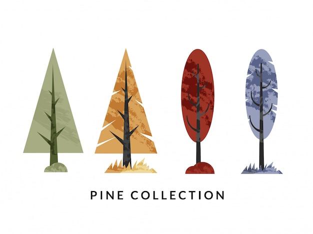 Ilustração de coleção de pinheiro