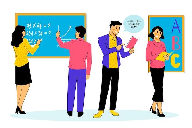 Ilustração de coleção de professores