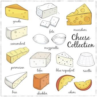Ilustração de coleção de queijo