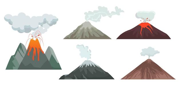 Ilustração de colinas e rochas de vulcão