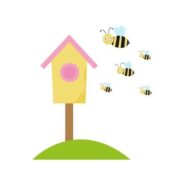 Ilustração de colmeia e abelhas primavera gráficos vetoriais