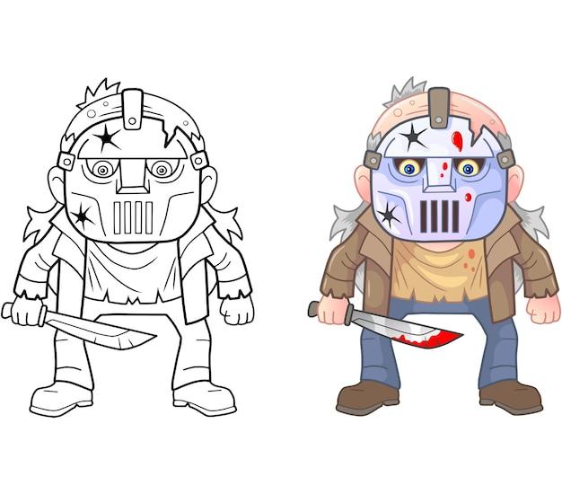 Ilustração de coloração maníaca engraçada Vetor Premium