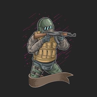 Ilustração de combate de armadura completa de soldado