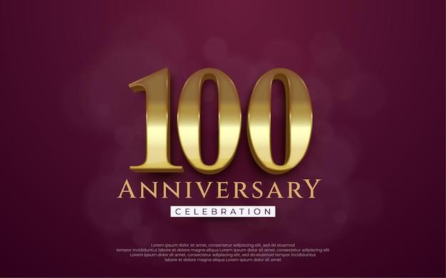 Ilustração de comemoração de aniversário número 100 com estilo 3d em fundo marrom