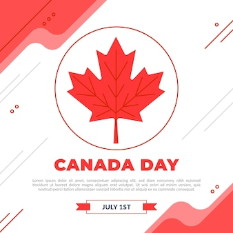 Ilustração de comemoração do dia do canadá plana