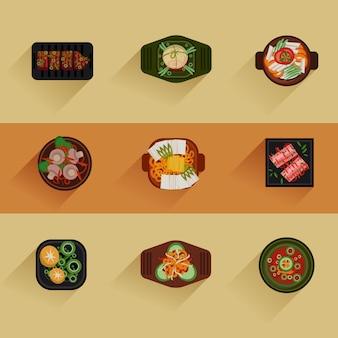 Ilustração de comida comida coreana