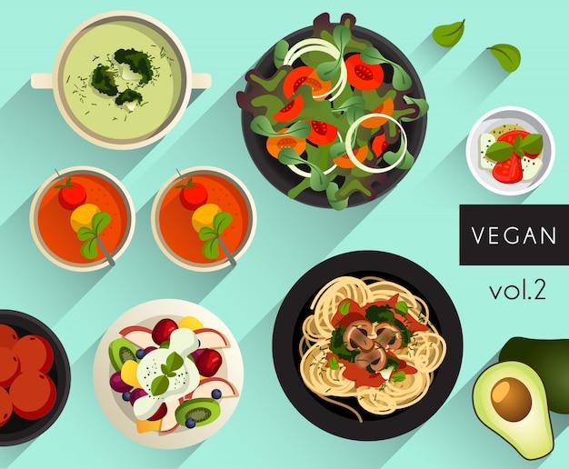 Ilustração de comida: comida vegana