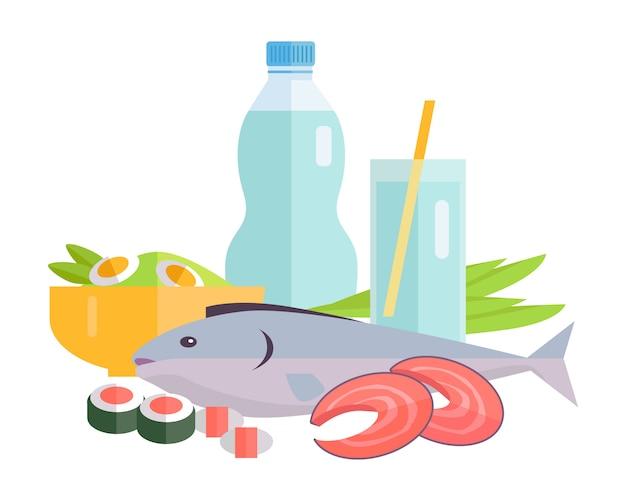 Ilustração de comida conceito em design de estilo simples.