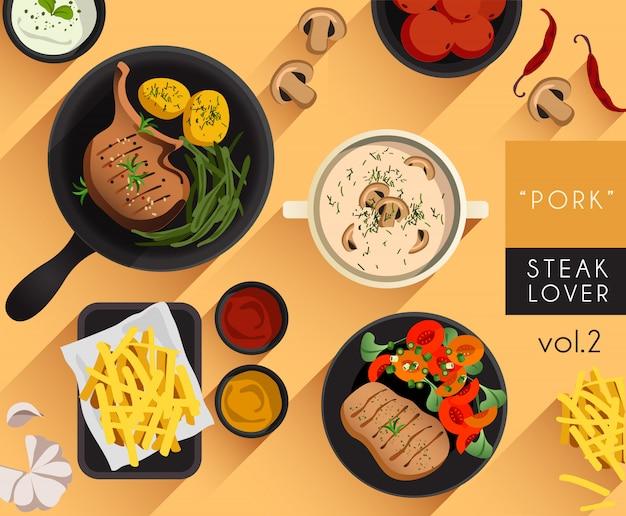 Ilustração de comida: conjunto de amante de bife
