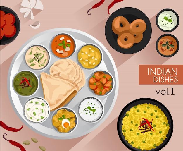 Ilustração de comida: conjunto de comida indiana