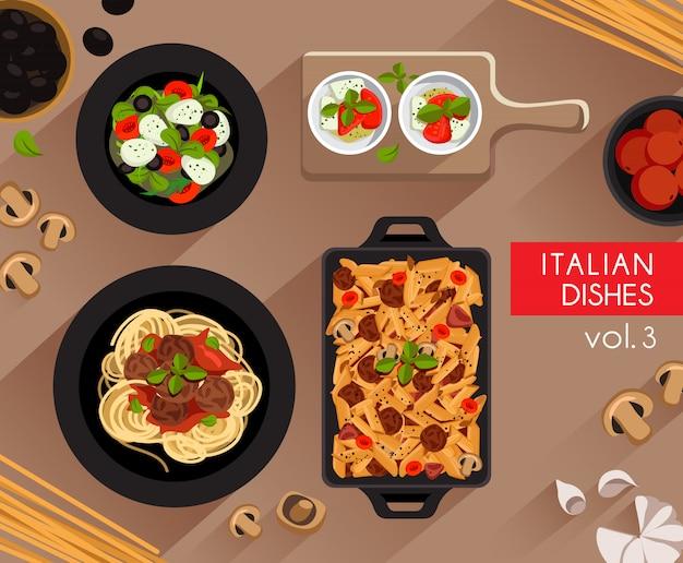 Ilustração de comida: conjunto de comida italiana