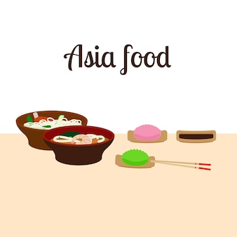 Ilustração de comida da ásia