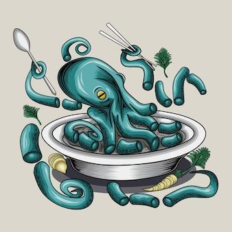 Ilustração de comida de animal marinho polvo