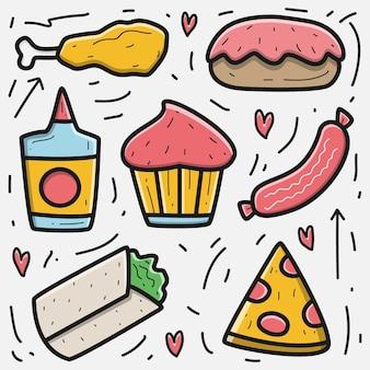 Ilustração de comida de doodle desenhado à mão