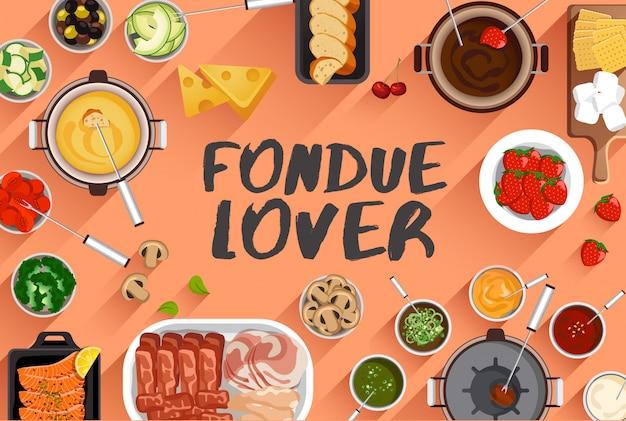 Ilustração de comida de fondue em ilustração vetorial de vista superior