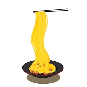 Ilustração de comida de macarrão de ásia