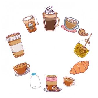 Ilustração de comida de padaria isolado