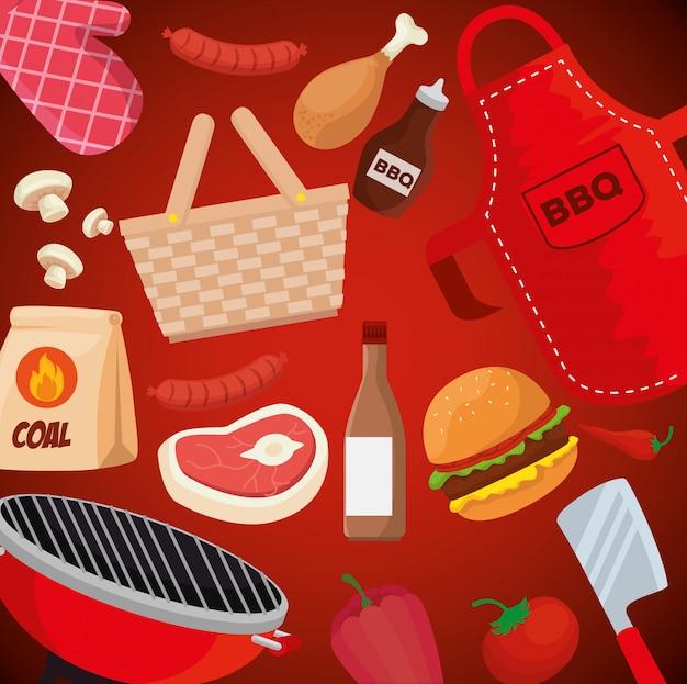 Ilustração de comida e utensílios de churrasco