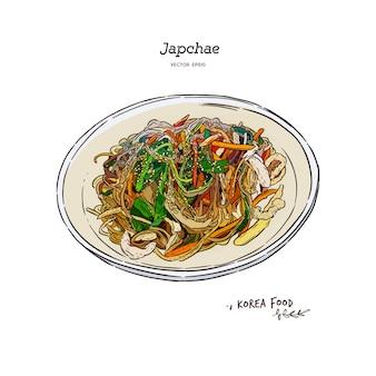 Ilustração de comida japchae, coréia