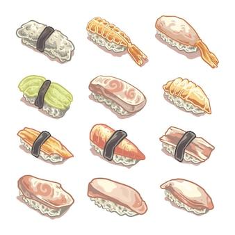 Ilustração de comida onigiri japonesa