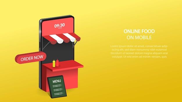 Ilustração de comida online em entrega móvel